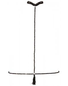 Halsband met ketting - Zwart