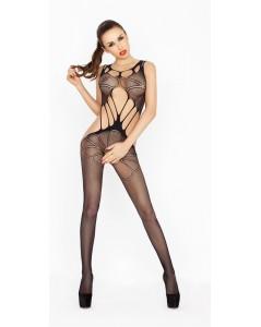 Netstof catsuit met grote gaten - Zwart